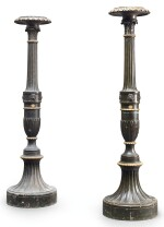 A PAIR OF REGENCY PARCEL-GILT AND SIMULATED BRONZE TORCHÈRES, EARLY 19TH CENTURY
