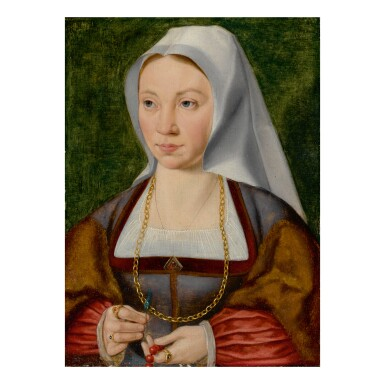 View 1. Thumbnail of Lot 18. ATTRIBUTED TO JOOS VAN CLEVE | PORTRAIT OF A LADY HOLDING A ROSARY AND A FLOWER.