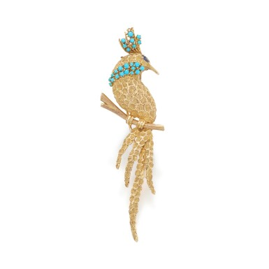 View 1. Thumbnail of Lot 42. Gold, turquoise and sapphire brooch.