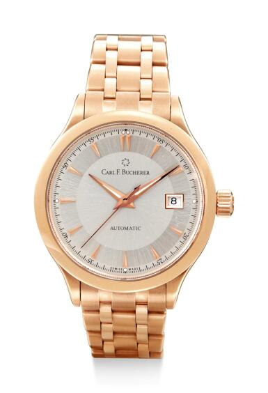 View 1. Thumbnail of Lot 8043. CARL F. BUCHERER | MANERO AUTODATE, REFERENCE 10908.03,  A PINK GOLD WRISTWATCH WITH DATE AND BRACELET, CIRCA 2010.