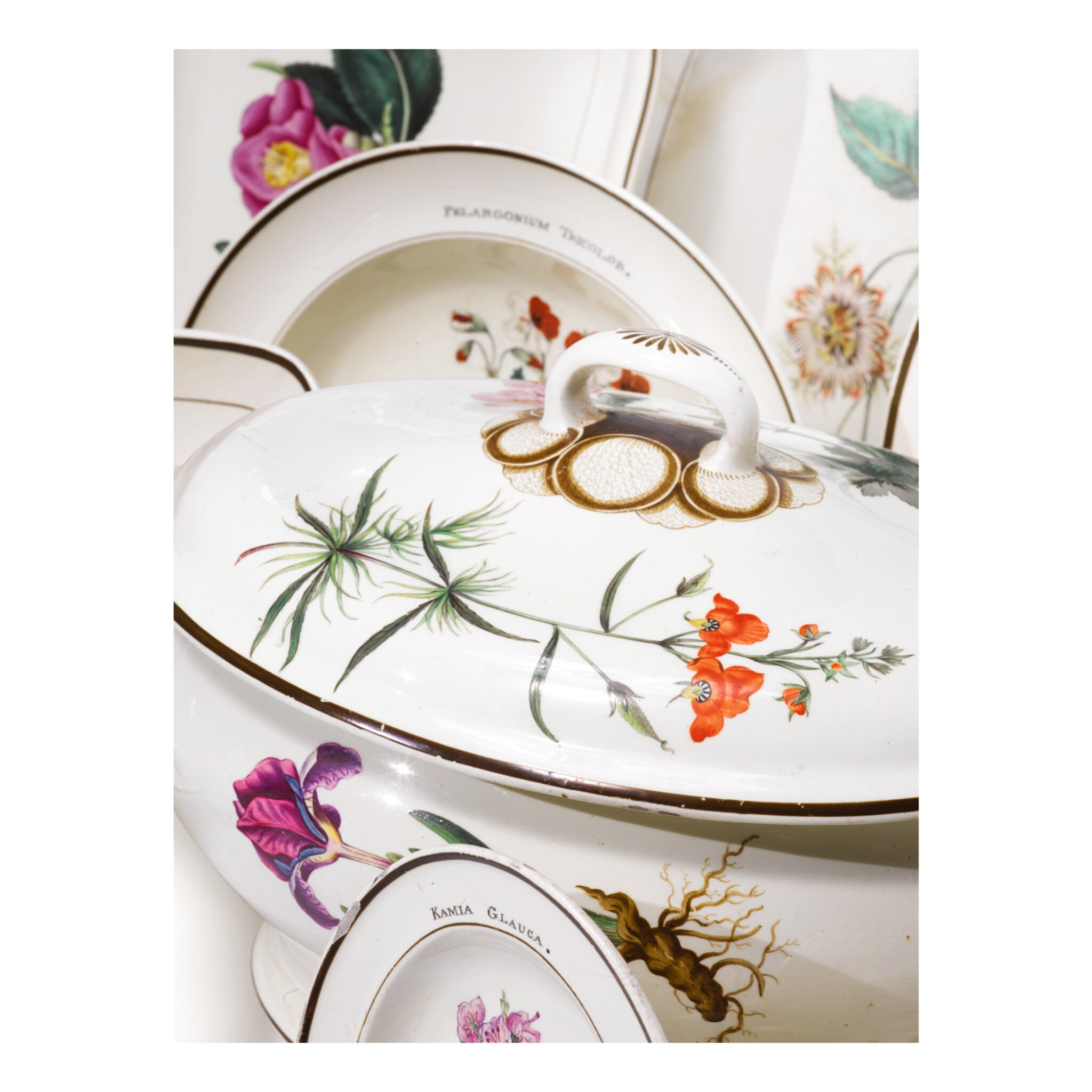 View full screen - View 1 of Lot 827. A NEALE CREAMWARE BOTANICAL ASSEMBLED PART-SERVICE, CIRCA 1800.