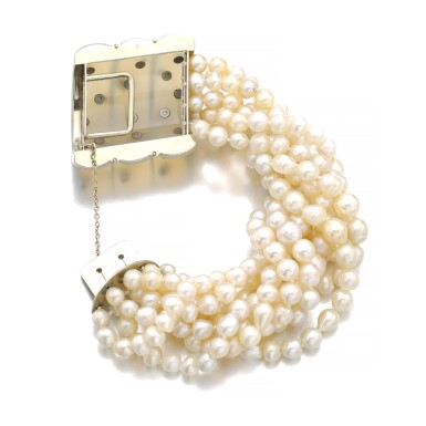 View 3. Thumbnail of Lot 43. SUZANNE BELPERRON   CHALCEDONY, CULTURED PEARL AND DIAMOND BRACELET, CIRCA 1935.