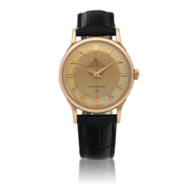 View 1. Thumbnail of Lot 429. CONSTELLATION, REF 2782 PINK GOLD WRISTWATCH CIRCA 1950.