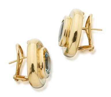 View 2. Thumbnail of Lot 23. PAIR OF GOLD AND AQUAMARINE EARCLIPS, PALOMA PICASSO FOR TIFFANY & CO..