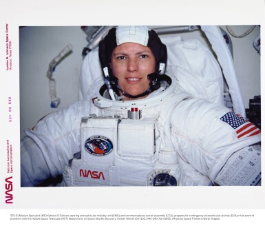 """View 6. Thumbnail of Lot 82. [STS-41-G and STS-31] Kathy Sullivan's Twice Flown Seiko — The """"Most Vertical Watch""""."""
