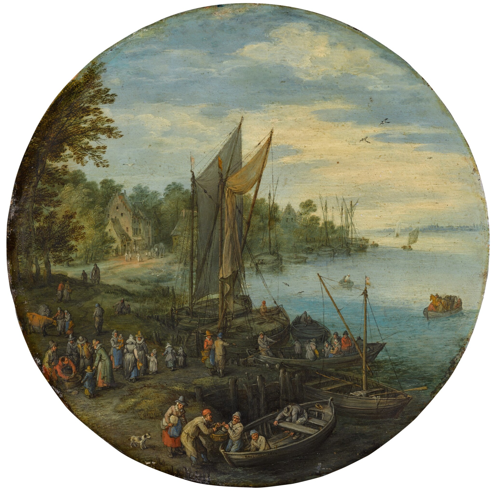 View full screen - View 1 of Lot 16. A wooded estuary with a ferry and fishermen selling their catch | 《樹木繁茂的河口、渡船與售賣漁獲的漁夫》.