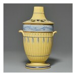 A WEDGWOOD CANEWARE PART-BAMBOO-MOLDED TWO-HANDLED BOUGH POT AND PIERCED COVER CIRCA 1780-85