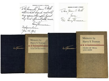 View 1. Thumbnail of Lot 79. Harry S. Truman   Memoirs by Harry S. Truman. New York: Doubleday & Company, Inc., 1955-1956.
