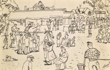 View 2. Thumbnail of Lot 35. EDWARD BAWDEN, R.A. | MORRIS DANCING AT THAXTED; VILLAGE FETE.