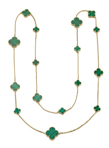 MALACHITE NECKLACE, 'ALHAMBRA', VAN CLEEF & ARPELS | 孔雀石項鏈, 'Alhambra', 梵克雅寶(Van Cleef & Arpels)