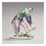 A MEISSEN FIGURE OF 'THE GREETING HARLEQUIN' CIRCA 1740-45