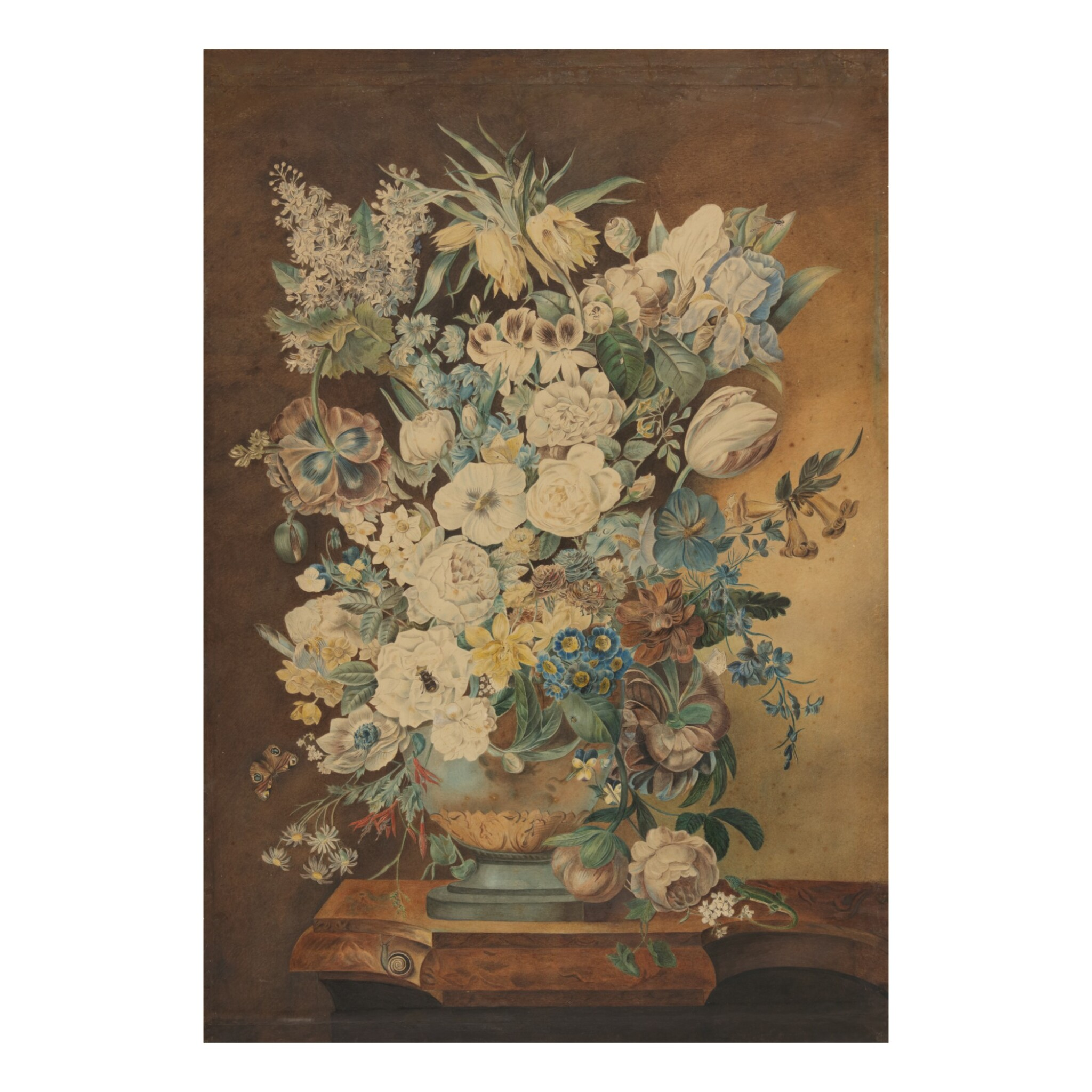 View full screen - View 1 of Lot 149. CONTINENTAL SCHOOL, 19TH CENTURY | VASE OF FLOWERS ON A MARBLE LEDGE WITH A SNAIL AND A LIZARD.