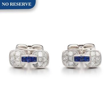 View 1. Thumbnail of Lot 1106. Pair of Sapphire and Diamond Cufflinks   格拉夫  藍寶石 配 鑽石 袖扣一對 (藍寶石及鑽石共重約1.10及3.30克拉).