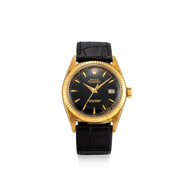View 1. Thumbnail of Lot 111. ROLEX | DATEJUST, REFERENCE 1601 A YELLOW GOLD WRISTWATCH WITH DATE, CIRCA 1964.