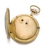 'THE BARKING DOG'  PIGUET & MEYLAN | A VERY FINE, RARE AND SMALL GOLD, ENAMEL AND PEARL-SET OPEN-FACED QUARTER REPEATING AUTOMATON WATCH MADE FOR THE CHINESE MARKET  CIRCA 1810, NO. 277