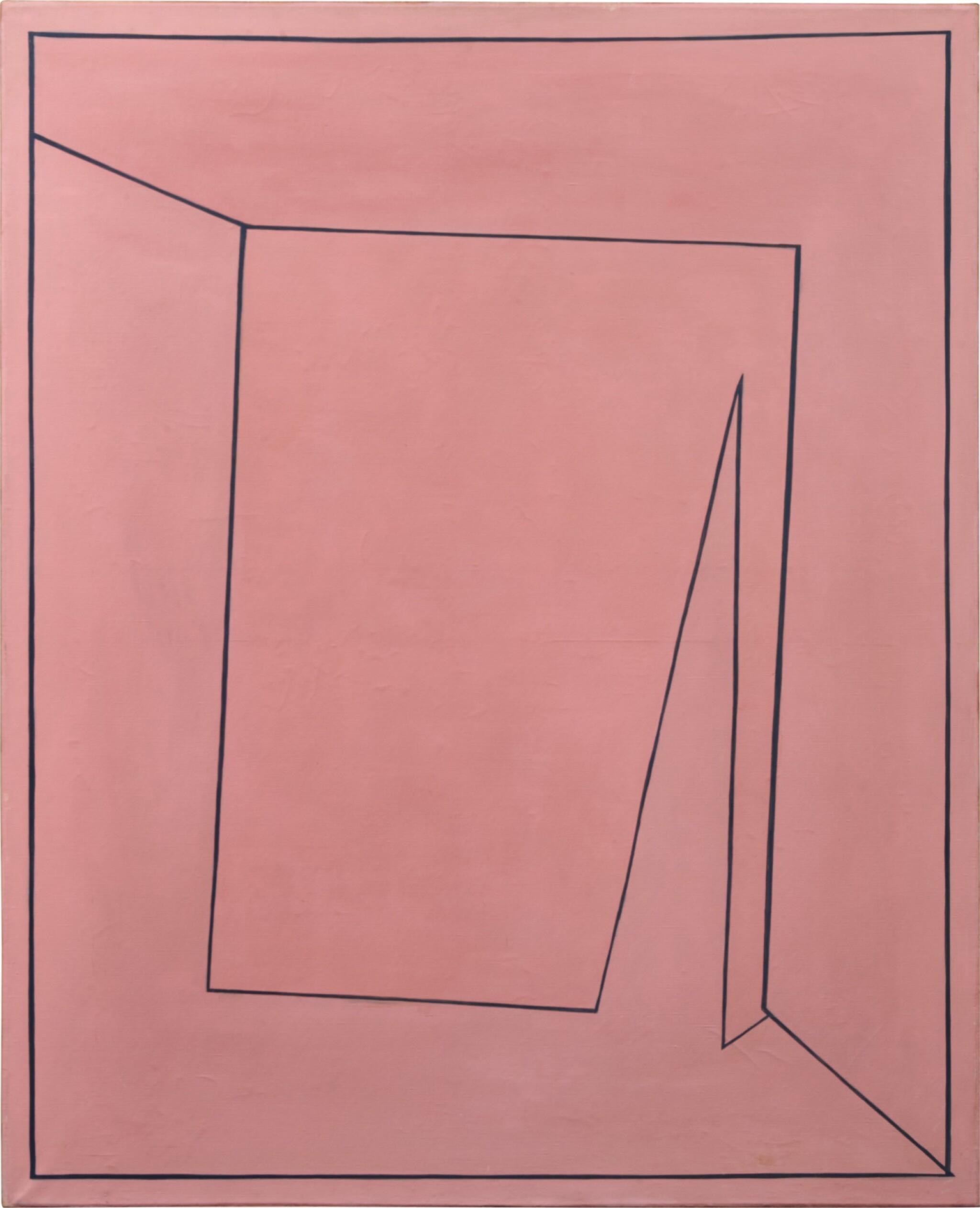 View full screen - View 1 of Lot 2. Tout rose (peinture rectangulaire représentant un carré perspectiviste qui a la rougeolle), 1955.
