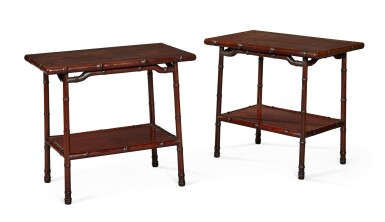 View 1. Thumbnail of Lot 141. A PAIR OF CHINESE HARDWOOD OCCASIONAL TABLES, EARLY 20TH CENTURY.