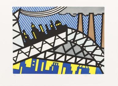 View 2. Thumbnail of Lot 145. La Nouvelle chute de l'Amérique. 1/80 ex. 10 eaux-fortes et aquatintes signées de Lichtenstein.