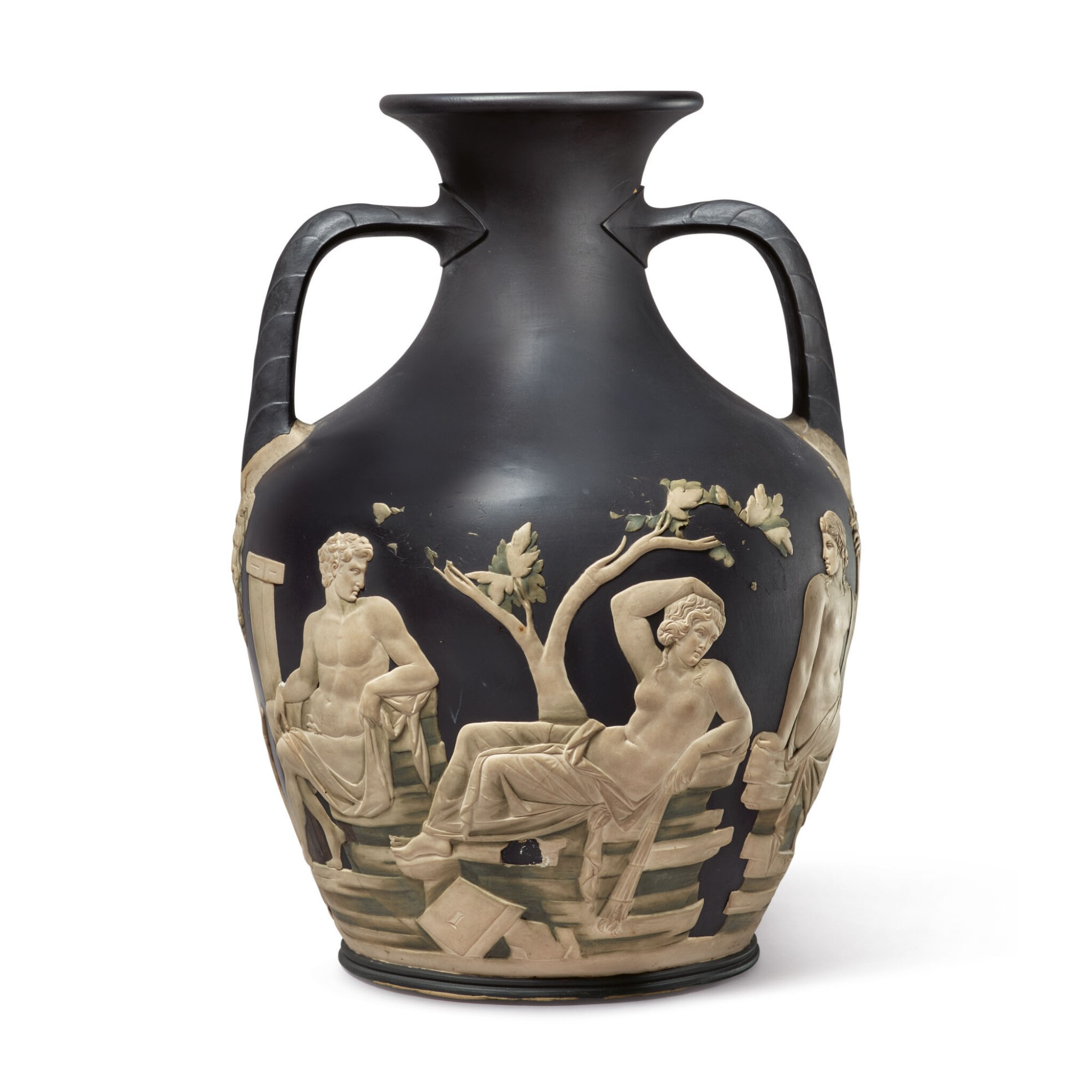 View 1 of Lot 139. A WEDGWOOD BLACK AND WHITE JASPERWARE 'PORTLAND VASE' LATE 18TH CENTURY .