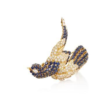 View 3. Thumbnail of Lot 8015. Sapphire and Diamond Brooch | 藍寶石 配 鑽石 胸針.