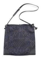 Printed silk and black leather with palladium hardware shoulder bag, Silkcity Sac, Hermès, 2010