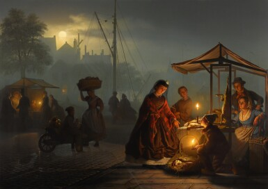 PETRUS VAN SCHENDEL   Market in Amsterdam by Moonlight
