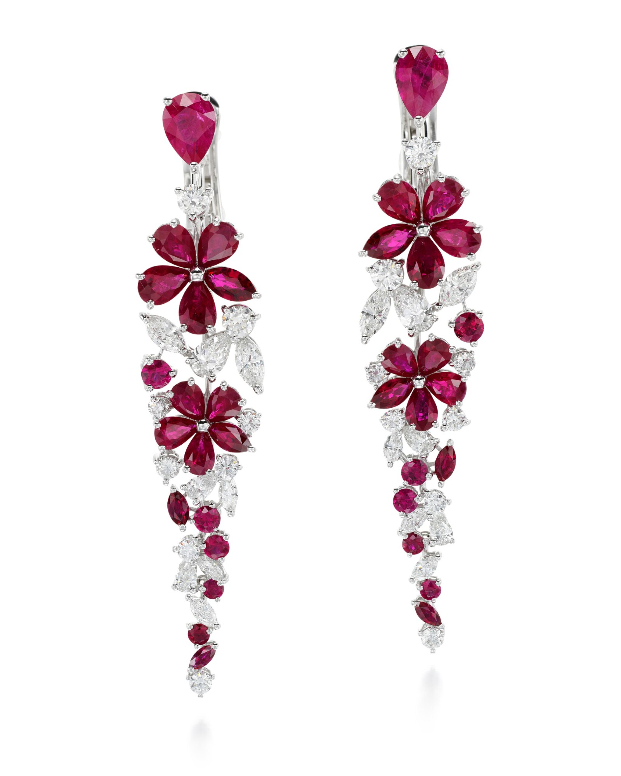 View full screen - View 1 of Lot 318. GRAFF   PAIR OF RUBY AND DIAMOND EARRINGS, 'CARISSA'.