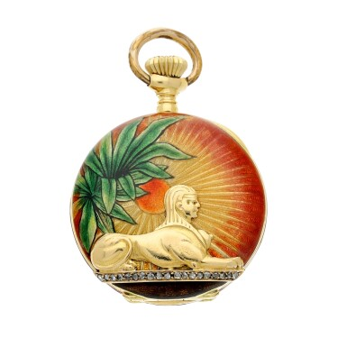 View 2. Thumbnail of Lot 139. RETAILED BY SPAULDING & CO.: A FINE YELLOW GOLD, ENAMEL AND DIAMOND-SET OPEN FACED WATCH WITH ASSOCIATED YELLOW GOLD, ENAMEL, DIAMOND AND EMERALD-SET PENDANT, MADE IN 1897.