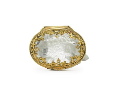 View 3. Thumbnail of Lot 35. A crystal bonbonnière with gold and enamel mounts, probably French, late 19th century.