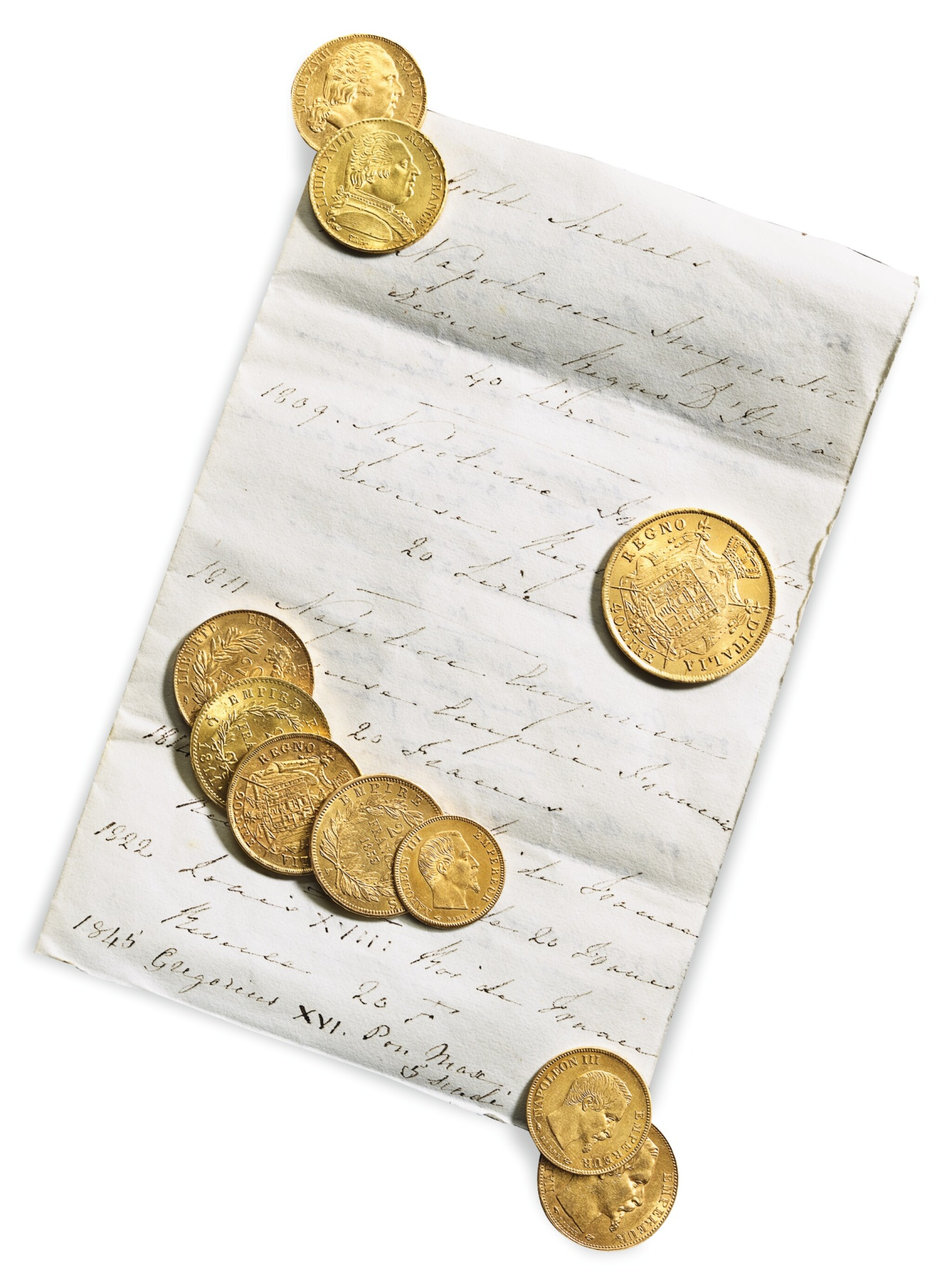 View full screen - View 1 of Lot 211.  A GROUP OF TEN FRENCH GOLD COINS, 1809-1857.