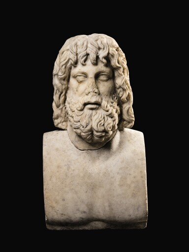 View 7. Thumbnail of Lot 32. A ROMAN MARBLE HEAD OF SARAPIS, CIRCA 2ND CENTURY A.D., ON 19TH CENTURY HERM SHOULDERS.