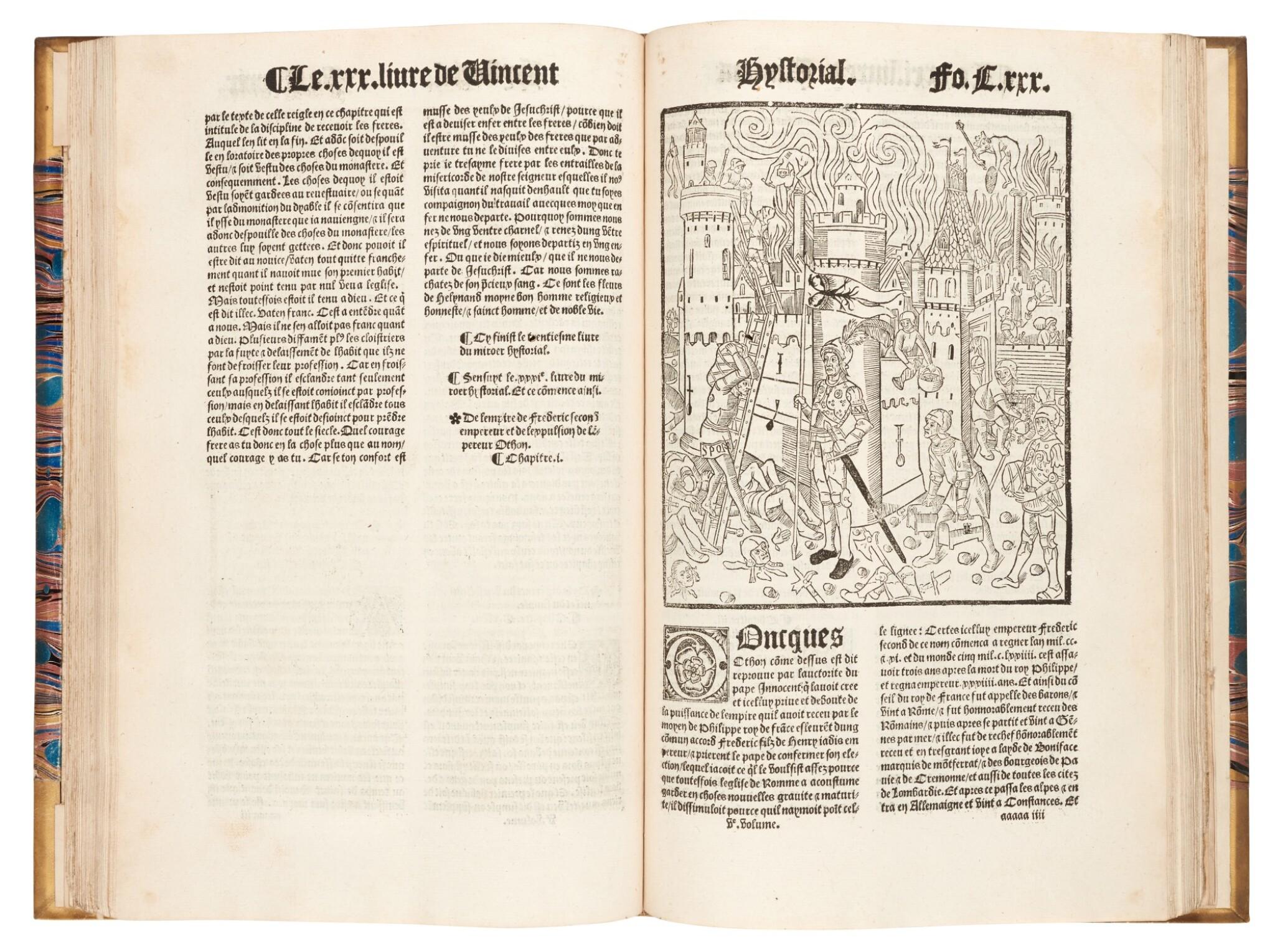 View full screen - View 1 of Lot 261. Vincent of Beauvais, Le cinquiesme volume... Miroir historial, Paris, 1531, later half vellum.