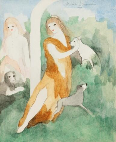 View 1. Thumbnail of Lot 235. LAURENCIN, Marie. Jeunes-filles et chiens. Aquarelle originale signée en haut à droite. Encadrée..