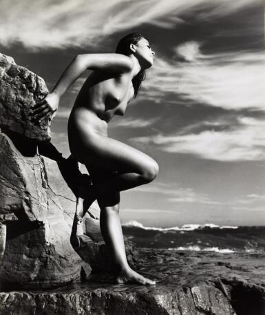YOSHIYUKI IWASE | UNTITLED (NUDE LEANING BACK ON ROCK), C.1955