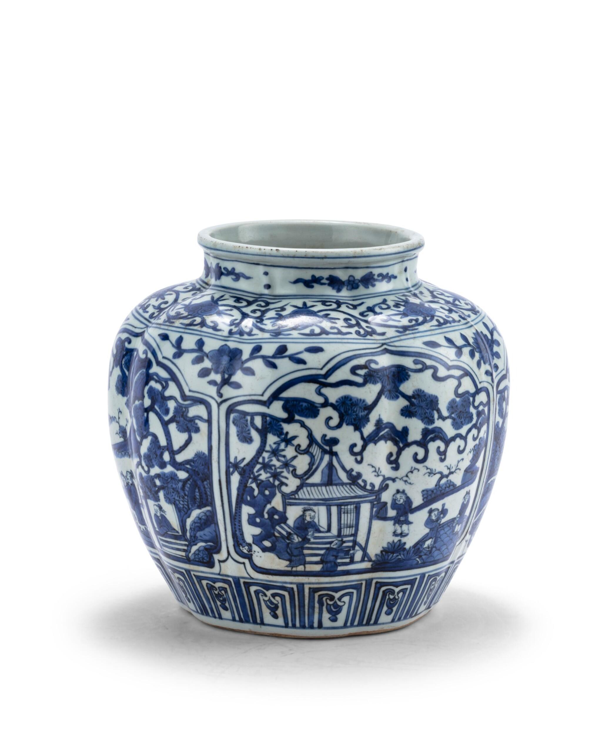 View 1 of Lot 188. Vase en porcelaine bleu blanc Marque et époque Jiajing | 明嘉靖 青花開光人物故事圖罐   《大明嘉靖年製》款 | A blue and white jar, mark and period of Jiajing .
