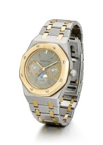 AUDEMARS PIGUET  |  ROYAL OAK, REFERENCE 25594SA.O.0789SA.01,  A STAINLESS STEEL AND YELLOW GOLD BRACELET WATCH WITH DAY, DATE AND MOON PHASES, CIRCA 1980