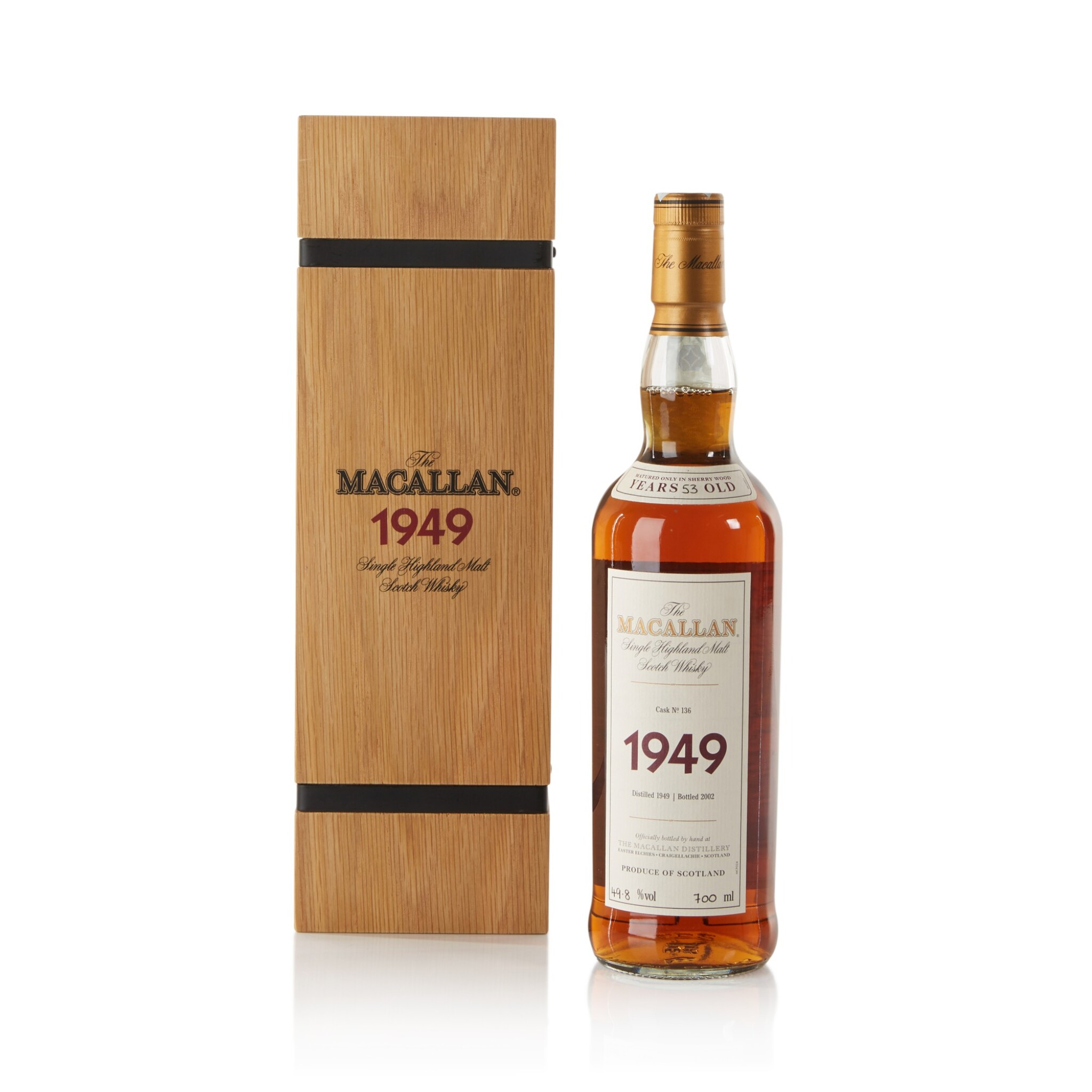 View full screen - View 1 of Lot 36. The Macallan Fine & Rare 53 Year Old 49.8 abv 1949 .