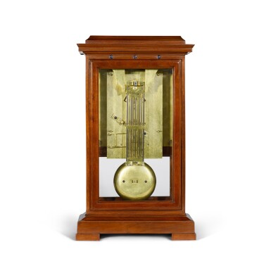 View 3. Thumbnail of Lot 60. A Consulate mahogany month-going table regulator with remontoire, equation of time and revolutionary and Gregorian calendars, Jean-Francois Cronier, Paris, dated 1800.