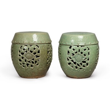 View 3. Thumbnail of Lot 90. A pair of pierced and carved 'Longquan' celadon-glazed garden seats, Ming dynasty | 明 龍泉窰青釉開光鏤空花卉紋坐墩一對.
