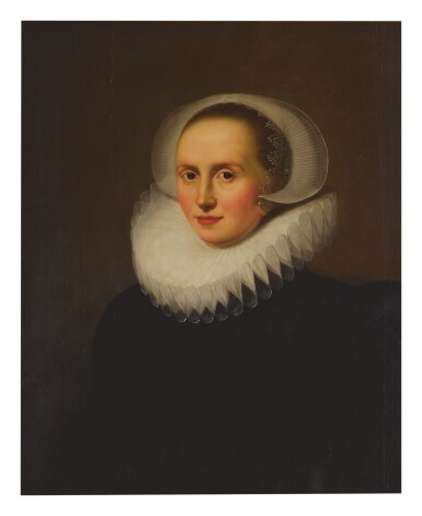 ATTRIBUTED TO LODEWIJK VAN DER HELST | PORTRAIT OF A LADY, HALF LENGTH, FACING LEFT, IN A WHITE RUFF