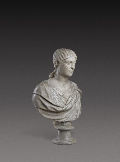 View 2. Thumbnail of Lot 72. A Roman Marble Portrait Bust of a Woman, Reign of Agrippina, circa A.D. 20-40.