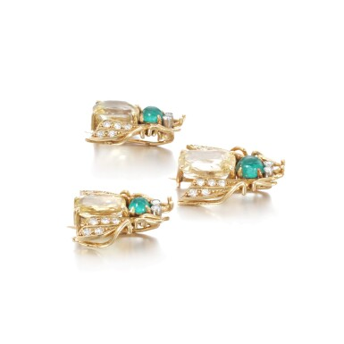 View 2. Thumbnail of Lot 39. Three yellow sapphire, emerald and diamond brooches.