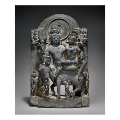 View 1. Thumbnail of Lot 353.  A BLACK STONE FIGURE OF UMA-MAHESHVARA,  WESTERN INDIA, HARYANA, 12TH CENTURY.