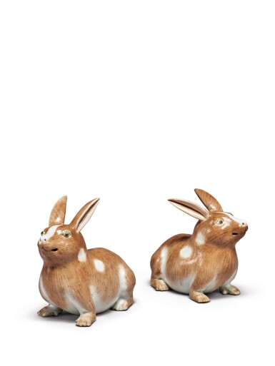 View 1. Thumbnail of Lot 203. A PAIR OF CHINESE EXPORT FIGURES OF RABBITS 19TH/20TH CENTURY.