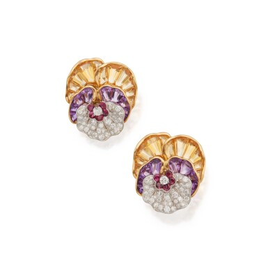 View 1. Thumbnail of Lot 38. Pair of Gem-Set and Diamond Earclips.