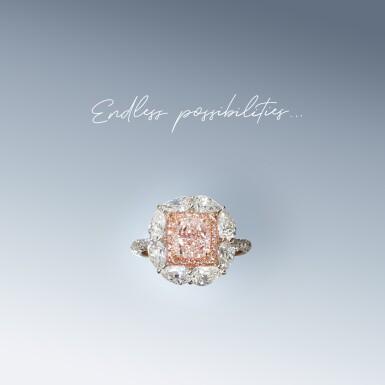 View 2. Thumbnail of Lot 18. A 0.47 Carat Fancy Purplish Pink Cut-Cornered Rectangular Modified Brilliant-Cut Diamond.