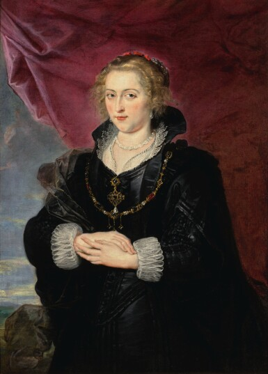 SIR PETER PAUL RUBENS  |  PORTRAIT OF A LADY, THREE-QUARTER LENGTH, WEARING AN ELABORATE BLACK DRESS AND CLOAK, BEFORE A RED DRAPE AND A DISTANT LANDSCAPE