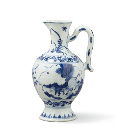 View 2. Thumbnail of Lot 378. A blue and white ewer, China, Qing Dynasty, 19th century.