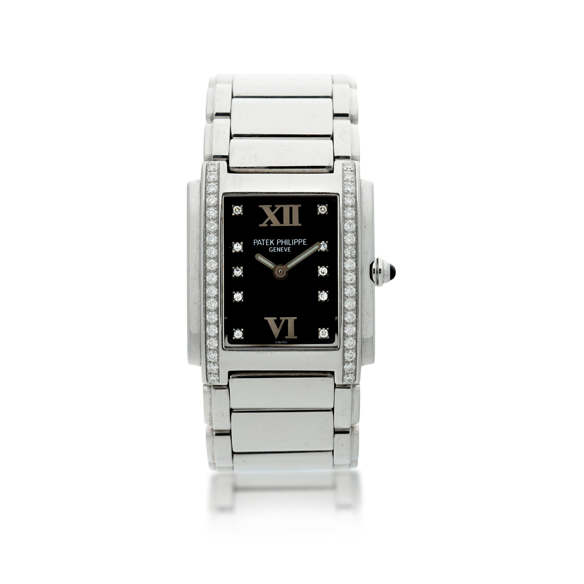 View full screen - View 1 of Lot 75. REFERENCE 4910/010 TWENTY-4 A STAINLESS STEEL AND DIAMOND-SET BRACELET WATCH, MADE IN 2001.