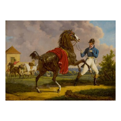 BERNARD ÉDOUARD SWEBACH | EQUERRY WITH HORSE OF LOUIS XVIII OUTSIDE THE ROYAL STABLES